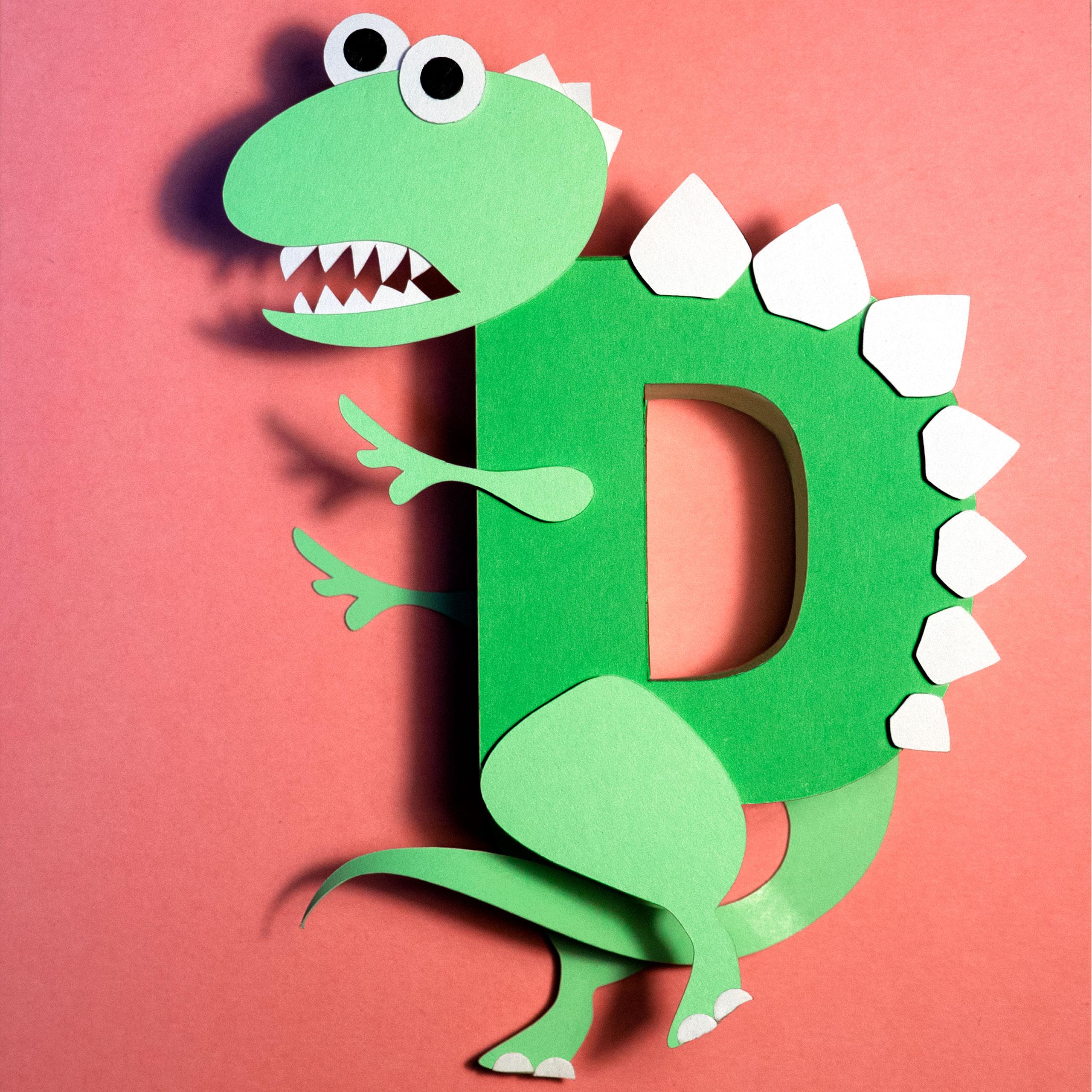paper cut letterform D